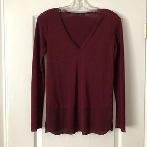 Zara dark red long sleeve blouse
